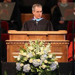LDS Business College President J. Lawrence Richards speaks during the LDS Business College's 126th commencement ceremony in the Tabernacle on Temple Square in Salt Lake City on Friday, April 12, 2013.