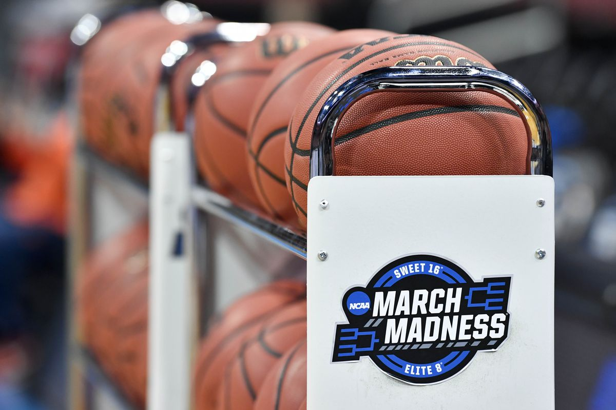 View of the basketball rack with the March Madness logo during practice for the south regional of the 2019 NCAA Tournament at KFC Yum Center.