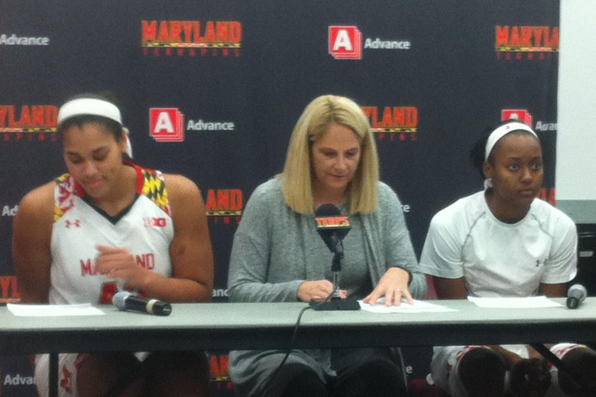 Brionna Jones, head coach Brenda Frese and Shatori Walker-Kimbrough answer questions after beating IUP 101-56