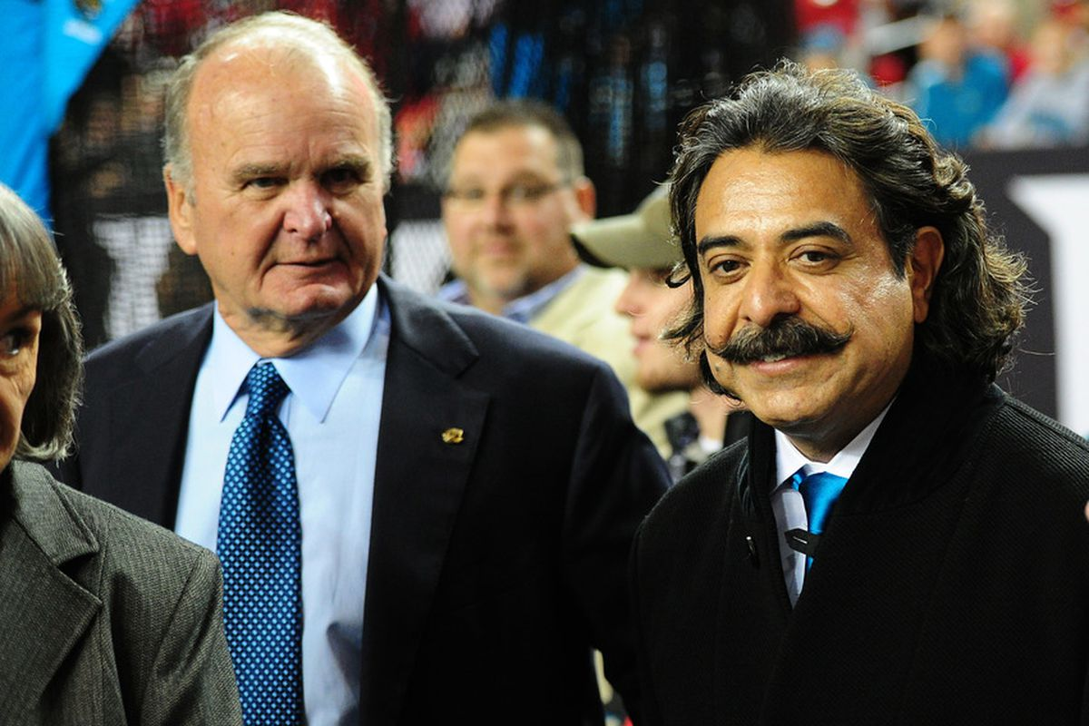ATLANTA, GA - DECEMBER 15: Shahid Kahn (R) and current Owner of the Jacksonville Jaguars Wayne Weaver watch the actionAtlanta Falcons at the Georgia Dome on December 15, 2011 in Atlanta, Georgia. (Photo by Scott Cunningham/Getty Images)