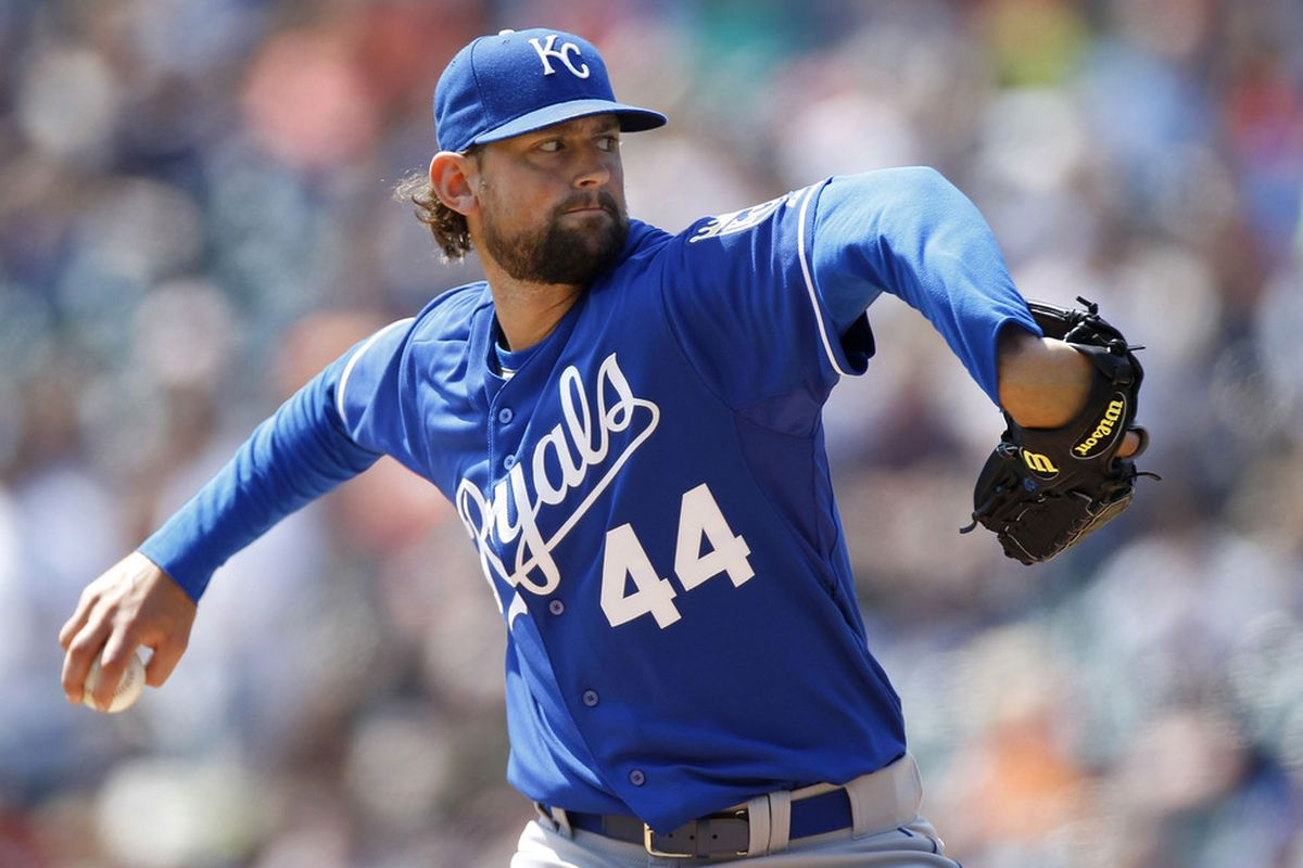 DETROIT, MI - APRIL 10:  Luke Hochevar #44 of the Kansas City Royals throws a pitch while playing the Detroit Tigers at Comerica Park on April 10, 2011 in Detroit, Michigan.  (Photo by Gregory Shamus/Getty Images)