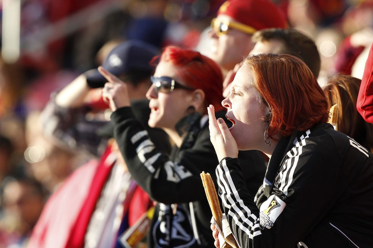 Real Salt Lake fans will need to brave some wet and chilly conditions on Saturday night, but they will be there in numbers to give their team the edge in their match against FC Dallas. (Photo by George Frey/Getty Images)