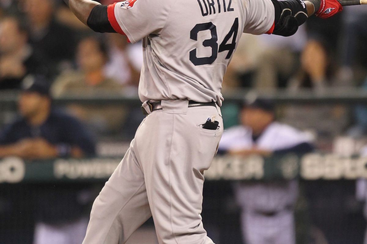 SEATTLE - SEPTEMBER 14:  David Ortiz #34 of the Boston Red Sox watches his three run home run in the eighth inning against the Seattle Mariners at Safeco Field on September 14 2010 in Seattle Washington. (Photo by Otto Greule Jr/Getty Images)