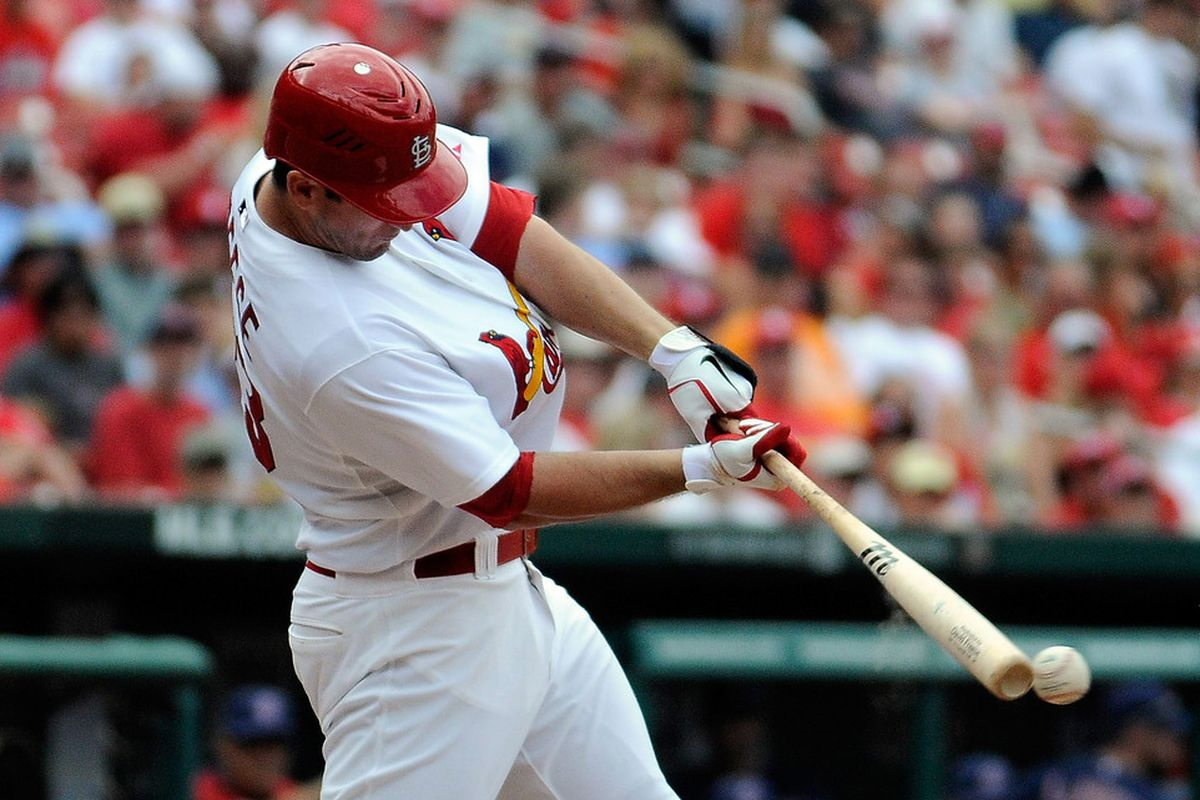 ST. LOUIS, MO - JUNE 10: David Freese #23 of the St. Louis Cardinals hits a single against the Cleveland Indians at Busch Stadium on June 10, 2012 in St. Louis, Missouri. (Photo by Jeff Curry/Getty Images)