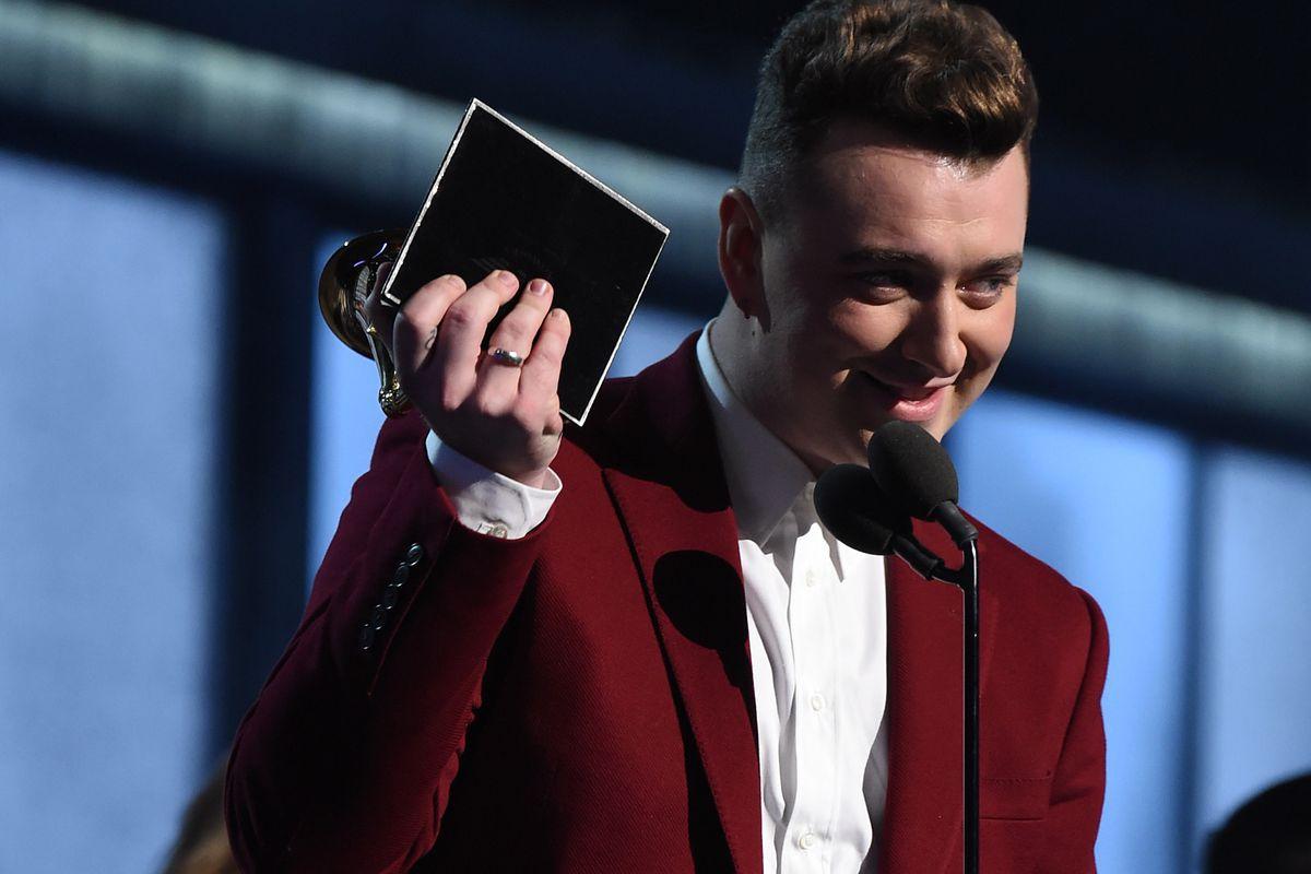 Recording Artist Sam Smith accepts his Grammy Award.