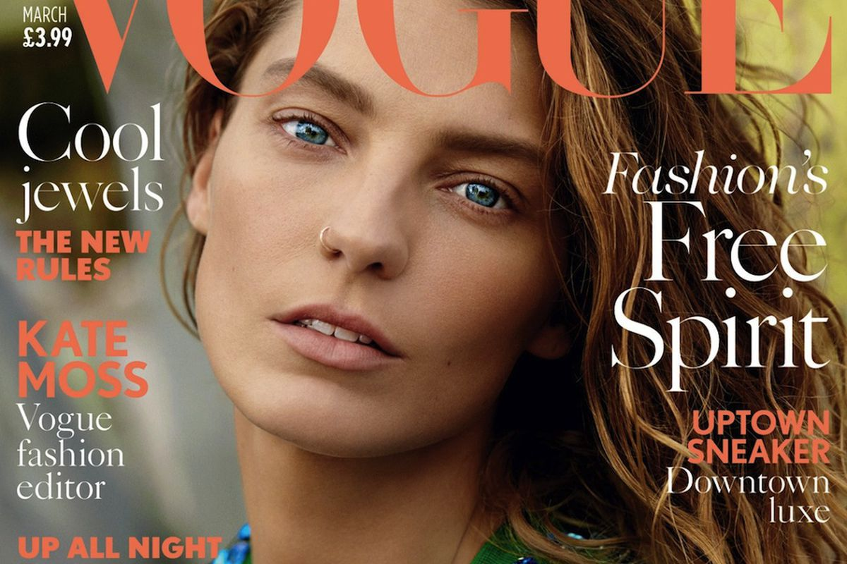 Vogue UK March 2014 cover featuring Daria Werbowy
