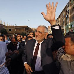 Egyptian presidential candidate Abdel-Moneim Abolfotoh is welcomed by his supporters while he arrives to a mass meeting in Monofeya, about 70 Kilometers north of Cairo, Egypt, Thursday, April 26, 2012. A panel of fundamentalist Islamic clerics has endorsed the candidate of the Muslim Brotherhood for president of Egypt, an attempt to prevent a split of the conservative Muslim voters. The ultraconservative endorsement boosted the Brotherhood candidate, Mohammed Morsi, who faces competition in next month's election from a more moderate Islamist, Abdel-Moneim Abolfotoh, who broke ranks with the group.