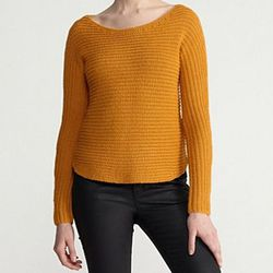 """<b>Eileen Fisher</b> Bateau Neck Dolman-Sleeve Top in Ochre, <a href=""""http://www.eileenfisher.com/EileenFisher/collection/ShopByCategory/Sweaters_and_Cardigans/Sweaters/PRD_F3ALI-W2505M/Bateau+Neck+DolmanSleeve+Shaped+Top+in+Alpaca+Silk+Horizontal+Rib.jsp"""