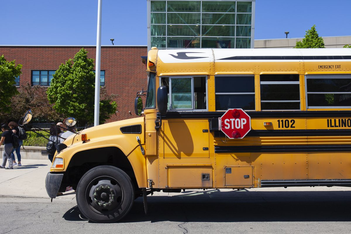 School bus at the front of North-Grand High School in Chicago in May 2019.