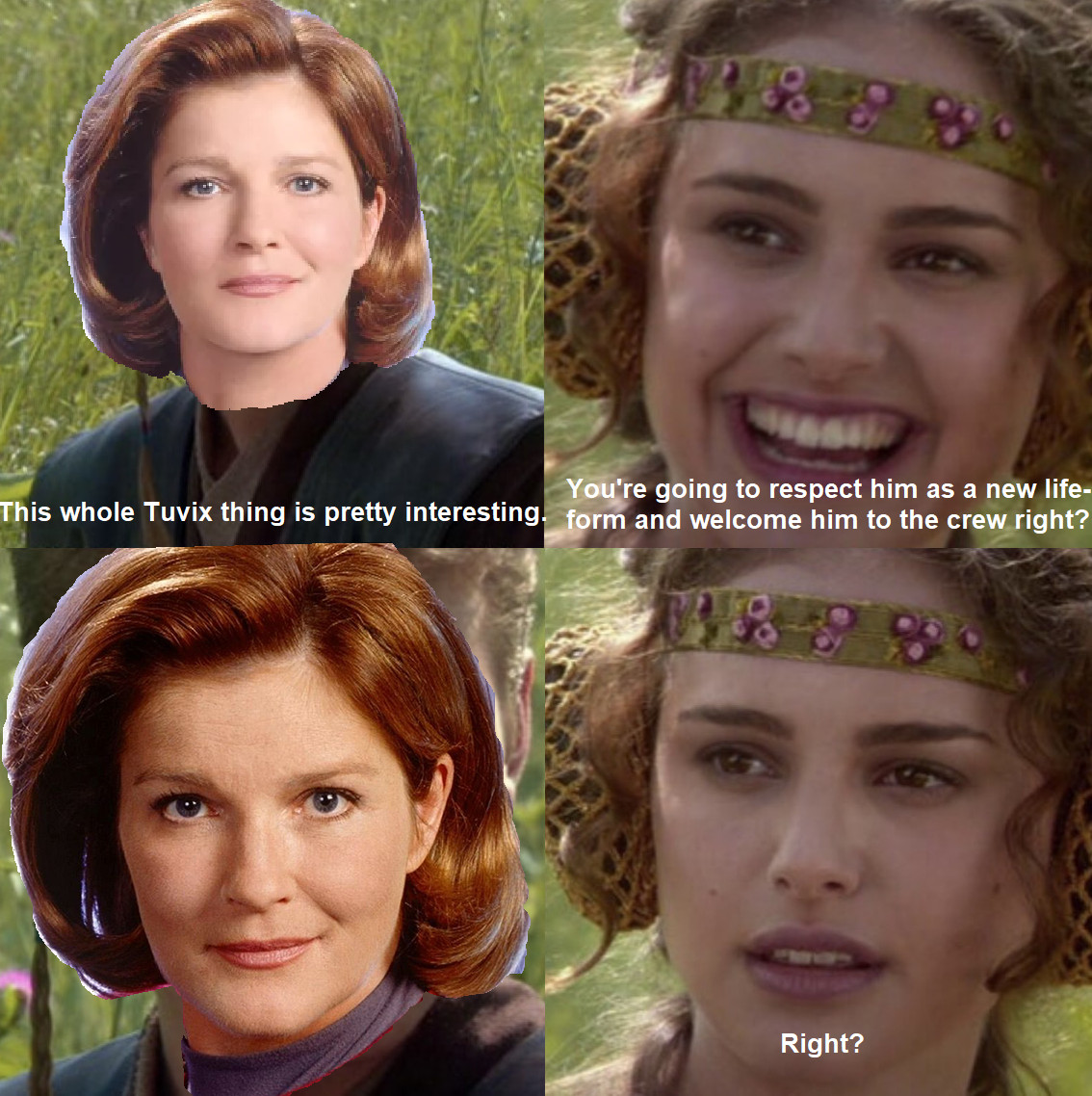 a Clueless Padme meme with Captain Janeway from Star Trek: Voyager about Tuvix