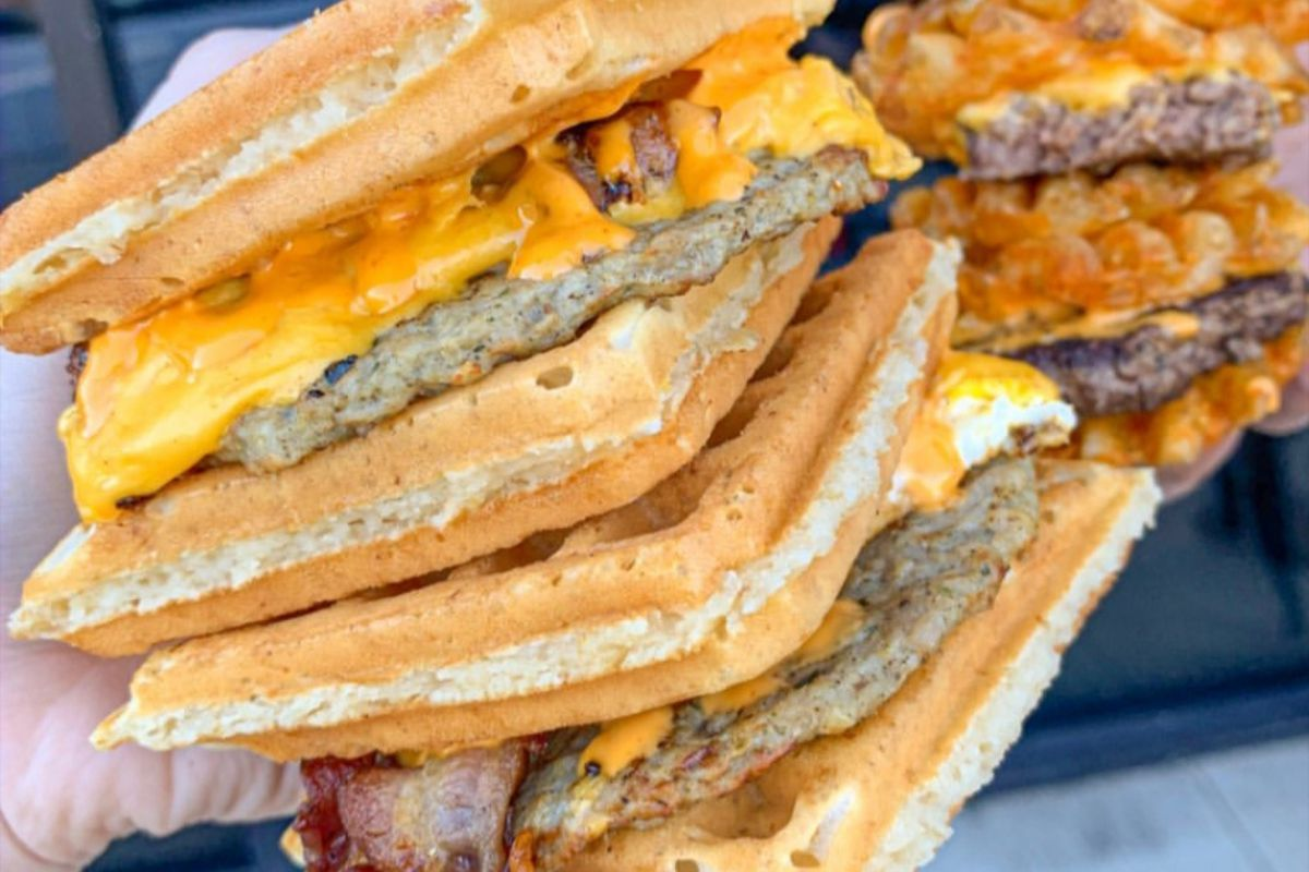 Waffle sandwiches at The Waffle Bus