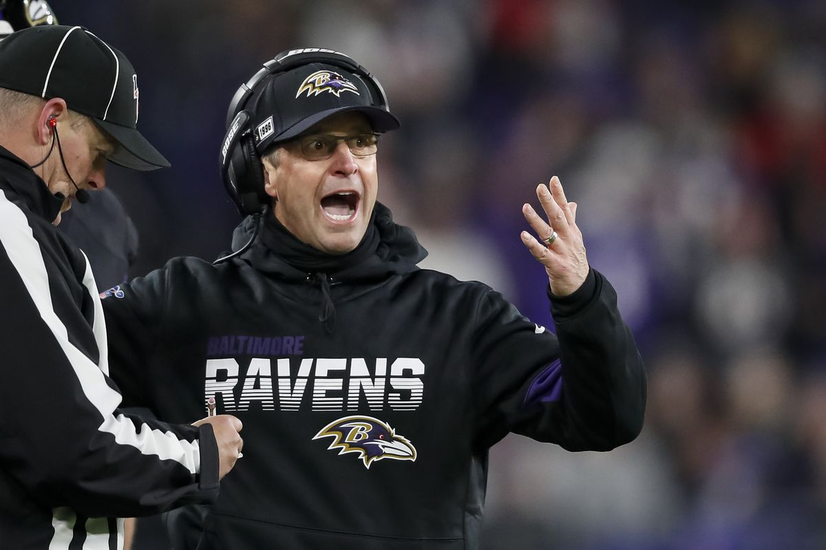 Head coach John Harbaugh of the Baltimore Ravens reacts to a call during the second half of the game against the New York Jets at M&T Bank Stadium on December 12, 2019 in Baltimore, Maryland.