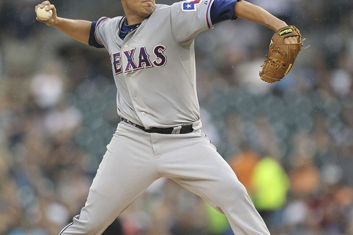 Colby Lewis is secretly perhaps the most important player in the Rangers' ALCS.  (Photo by Leon Halip/Getty Images)