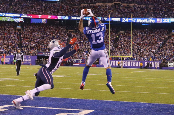 Officials overturned this touchdown call, saying Odell Beckham Jr. did not retain possession of the ball in the end zone. | Getty Images.