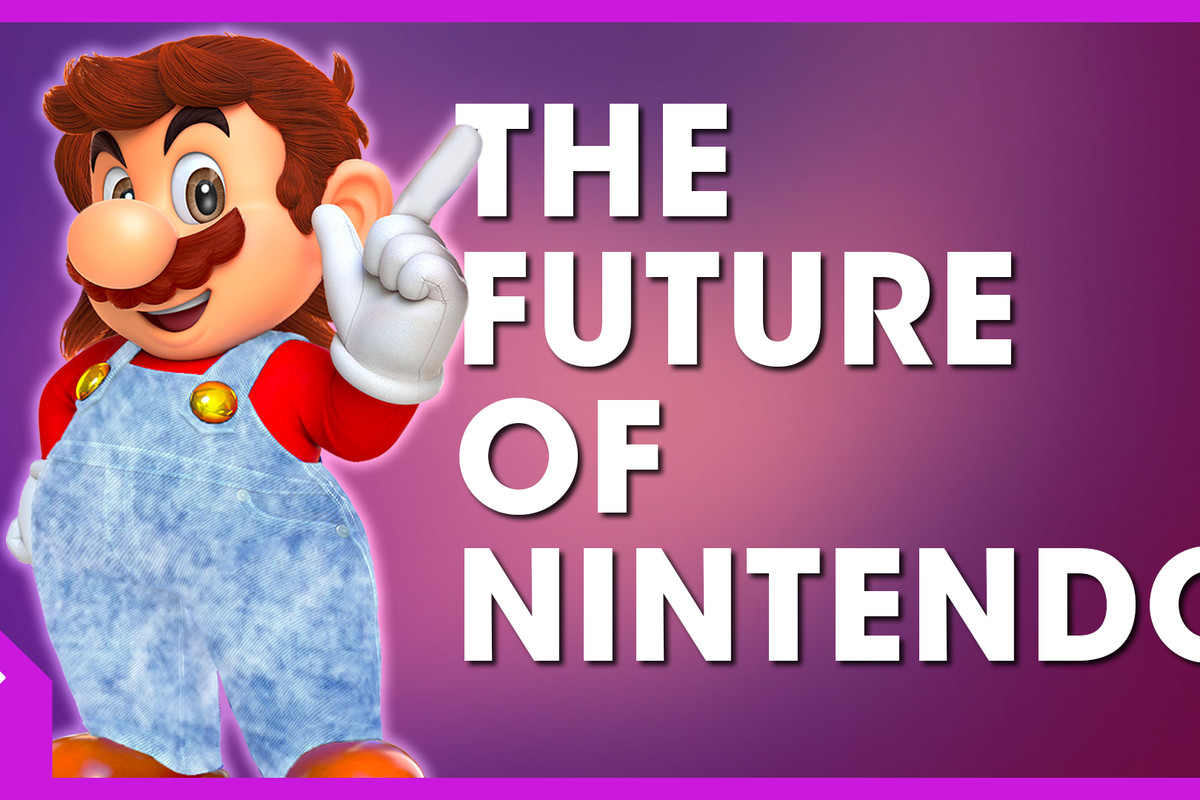 A photoshop of Mario with acidwash overalls and a mullet, besides text that says The Future of Nintendo