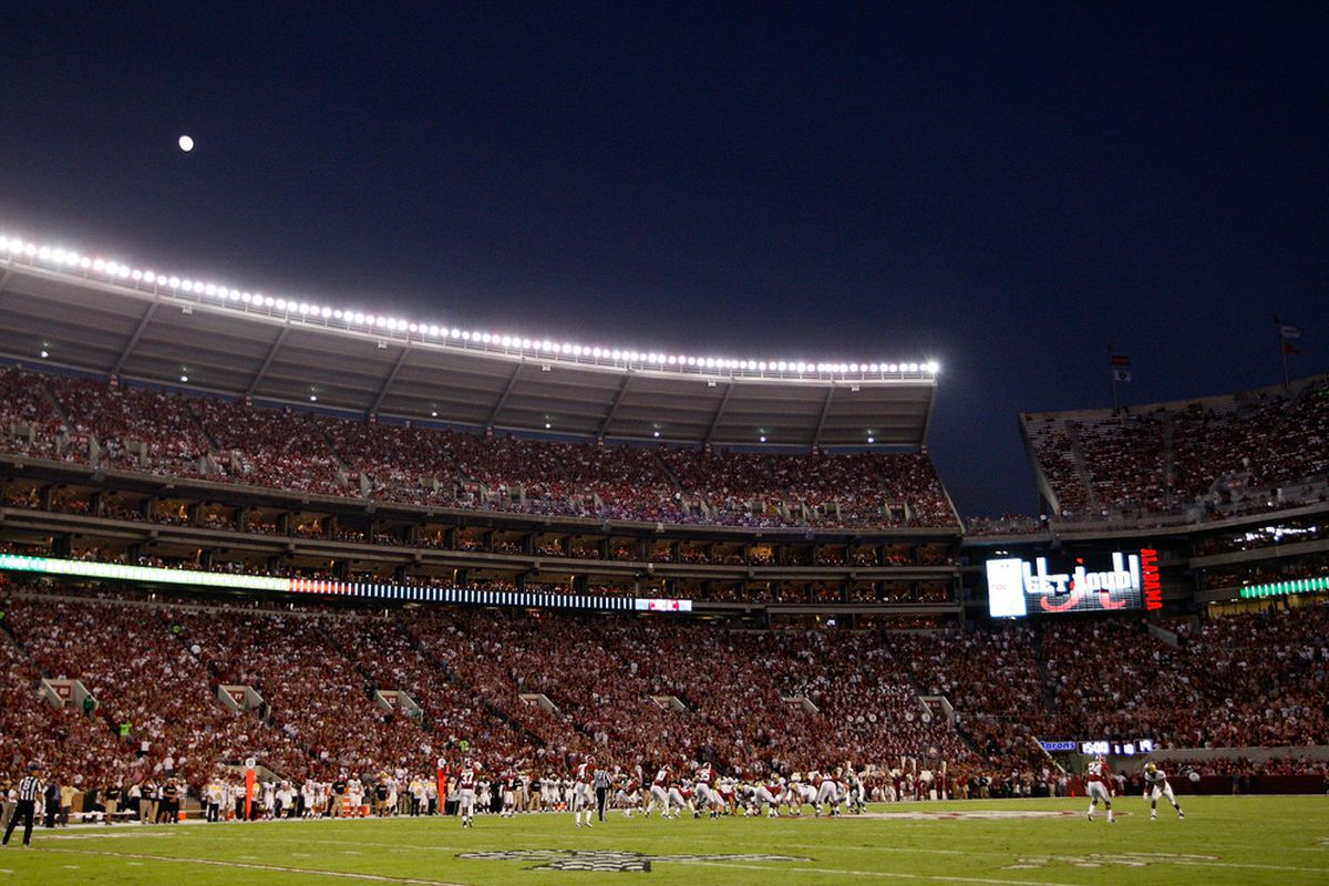 TUSCALOOSA, AL - OCTOBER 08:  The Alabama Crimson Tide defense lines up under the moonlight against the Vanderbilt Commodores offense at Bryant-Denny Stadium on October 8, 2011 in Tuscaloosa, Alabama.  (Photo by Kevin C. Cox/Getty Images)