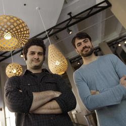 In this photo taken Thursday April 26, 2012, Dustin Moskovitz, left, and Justin Rosenstein, right, co-founders of the collaborative software company Asana, pose outside of their offices in San Francisco. Facebook co-founder and former Mark Zuckerberg roommate Dustin Moskovitz is by many accounts the world's youngest self-made billionaire. But the 27-year-old isn't sipping champagne in the Caribbean. Instead he's thrown himself back into San Francisco's startup churn with an online collaboration app he says will become the world's next $100 billion company.