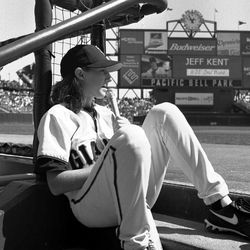 In this 2000 photo released by the San Francisco Giants, is former bat girl Alexis Busch at Pacific Bell Park in San Francisco. The Giants will observe a moment of silence Monday to honor the former bat girl lost at sea during a California yacht race. Busch of Larkspur, Calif., is one of four sailors still missing following the wreck of the yacht Low Speed Chase near the Farallon Islands on Saturday.