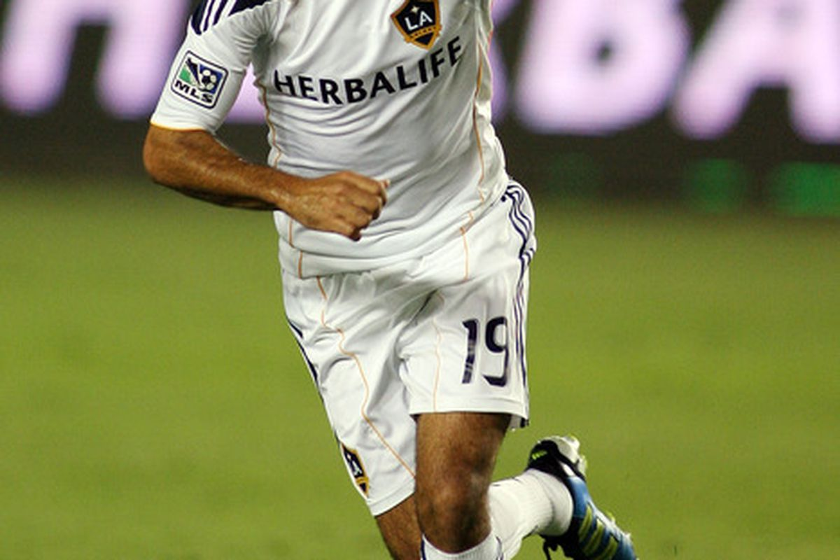 CARSON, CA - AUGUST 06:  Juninho #19 of the Los Angeles Galaxy celebrates his goal against FC Dallas at The Home Depot Center on August 6, 2011 in Carson, California.  (Photo by Jeff Golden/Getty Images)