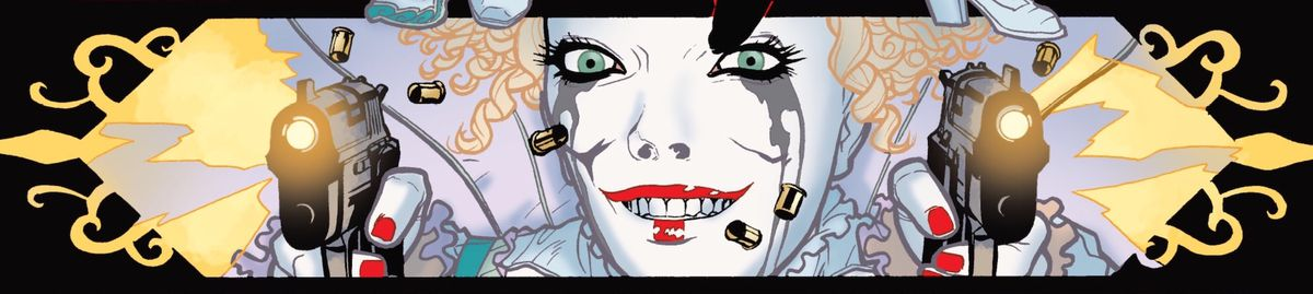 Alice, Batwoman's nemesis, fires two pistols at the viewer, a wild, smiling expression on her face, in Detective Comics #855, DC Comics (2009).