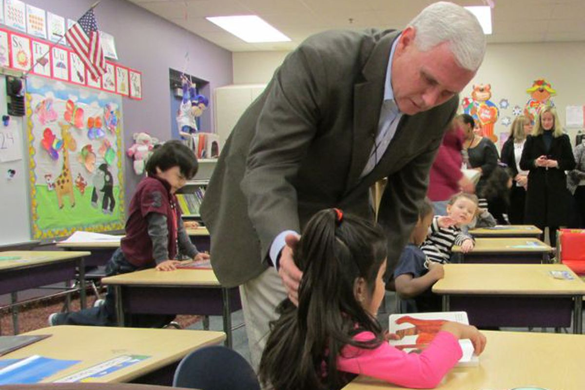 Gov. Mike Pence greets preschoolers on a visit to Shepherd Community Center last year.