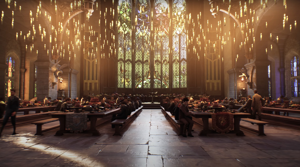 a scene from the dining hall at Hogwarts in Hogwarts Legacy