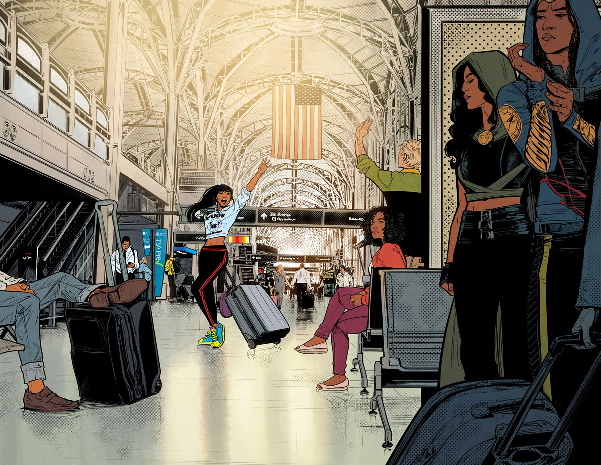 Yara Floor waves goodbye in an airport, while two hooded women observe suspiciously, in Infinite Frontier #0, DC Comics (2021).
