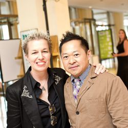 Legendary lady-pastry chef Elizabeth Falkner with Pichet Ong.<br /><br />photo copyright Daniel Krieger Photography LLC