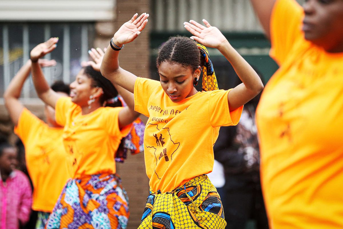 Performers during the 48th Annual Juneteenth Day Festival in Milwaukee, Wisconsin, on June 19, 2019.