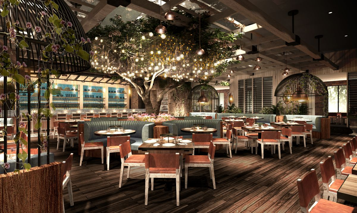 A rendering of the dining room at Catch