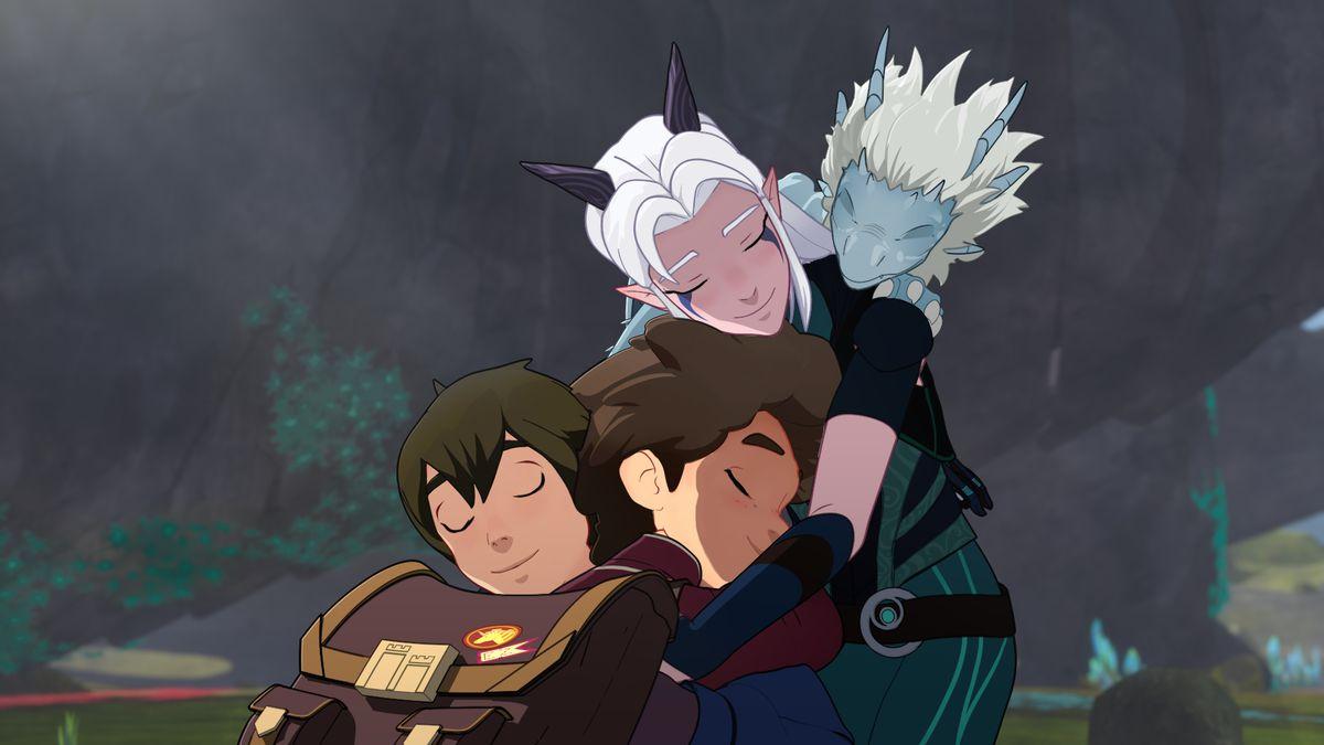 the dragon prince gang hugs each other