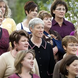 Members of the choir sing during the cornerstone ceremony as about 200 take part at the Brigham City Temple prior to the dedication Sunday, Sept. 23, 2012.