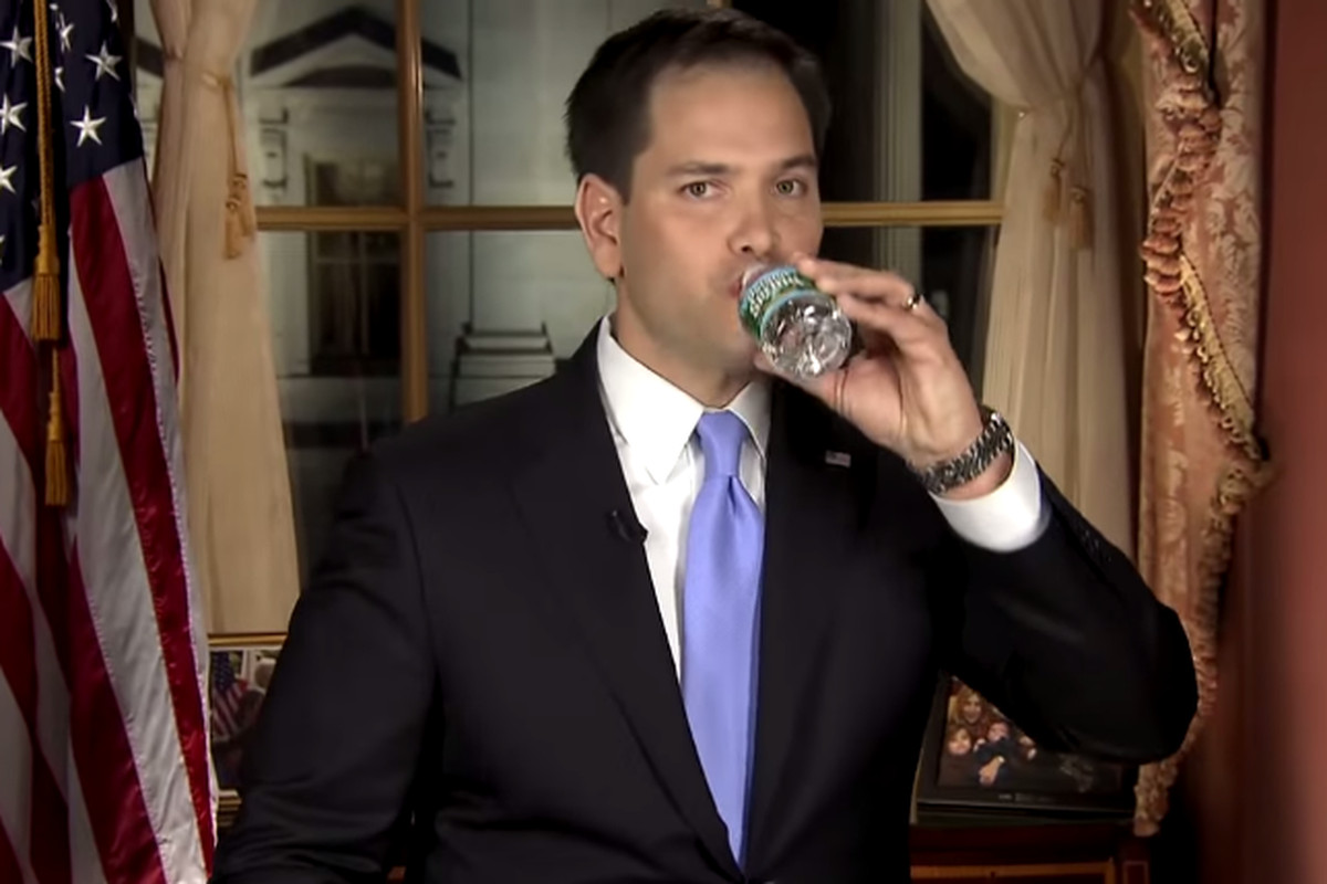 Mark Rubio Drinks Water