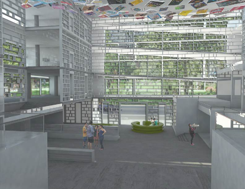 An interior rendering of one team's library design.
