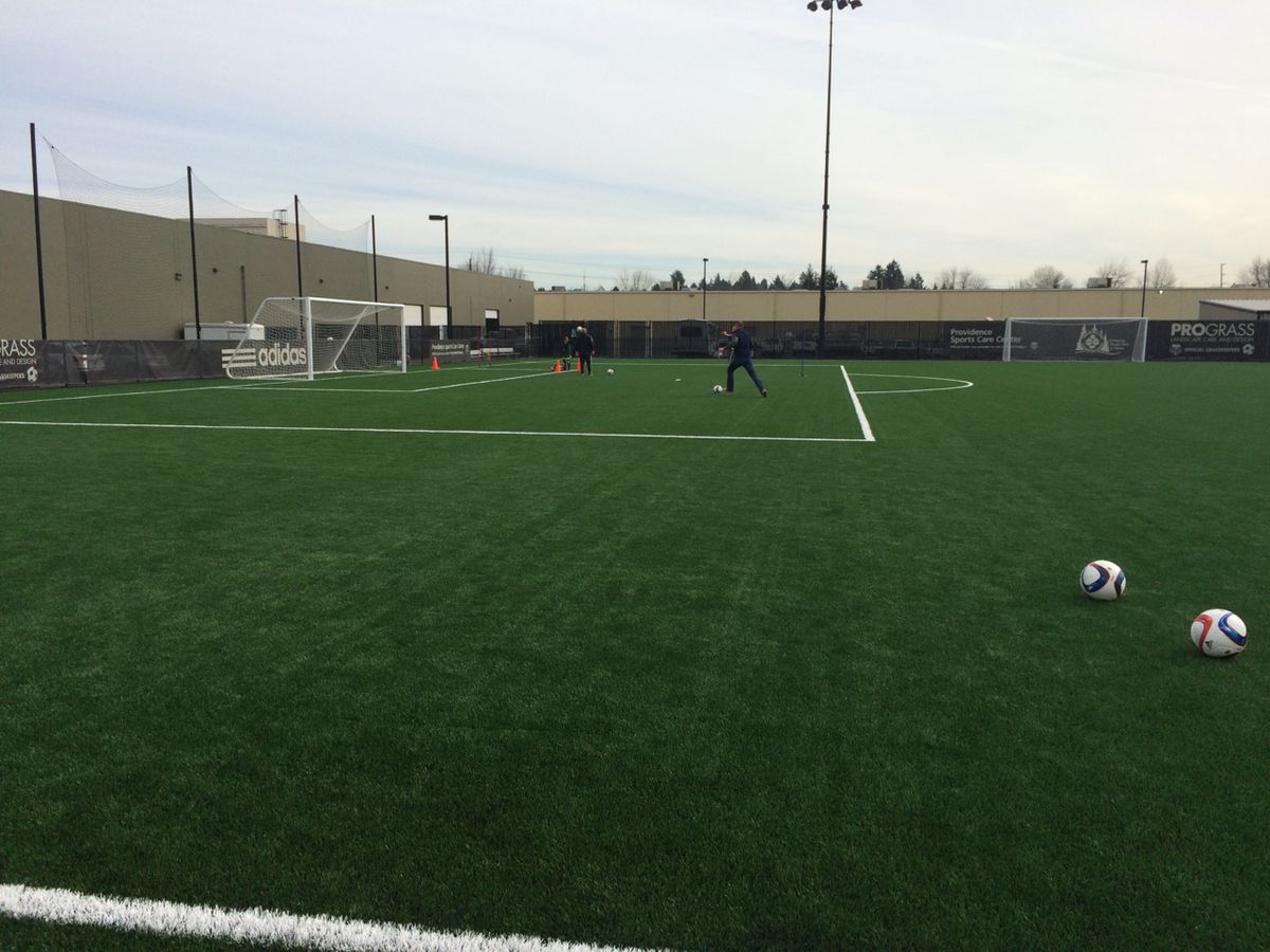 Merritt Paulson shoots after Portland Timbers practice. Will Conwell. 3/10/15