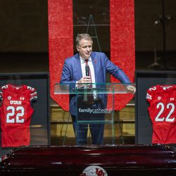 University of Utah President Taylor Randall memorializes Aaron Lowe during a funeral service at Family Cathedral of Praise on Monday, Oct. 11, 2021, in Mesquite, Texas. Lowe, a student and football player at the University of Utah, was was shot and killed on Sept. 26 at a postgame party.