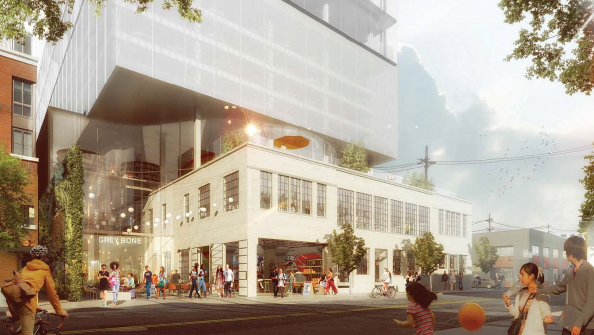 Rendering of old building with glassy top levels