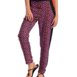 Try these printed pants with a complementary printed top for a chic, eclectic look. Ark & Co. Editorial Geometric Print Slim Pants, SALE $49.99, South Moon Under.