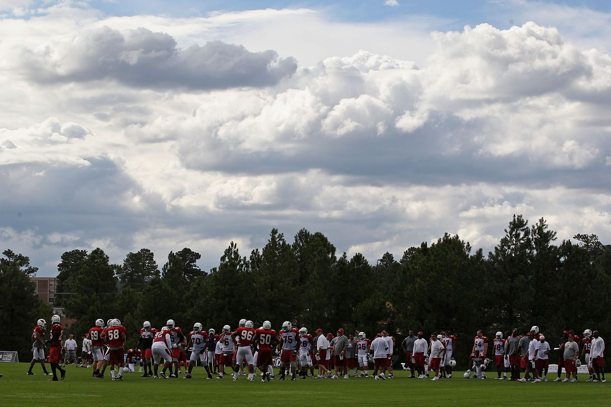 General view as the Arizona Cardinals practice in the team training camp at Northern Arizona University on July 31, 2011 in Flagstaff, Arizona. Cardinals Training Camp