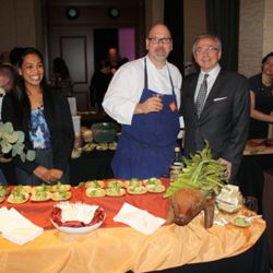 All smiles (and enormous asparagus!) at the Perbacco table with Staffan Terje (middle) and Umberto Gibin (right).