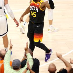 Utah Jazz guard Donovan Mitchell (45) yells at the crowd as the Utah Jazz and the Memphis Grizzlies play in Game 5 of an NBA basketball first-round playoff series at Vivint Arena in Salt Lake City on Wednesday, June 2, 2021.