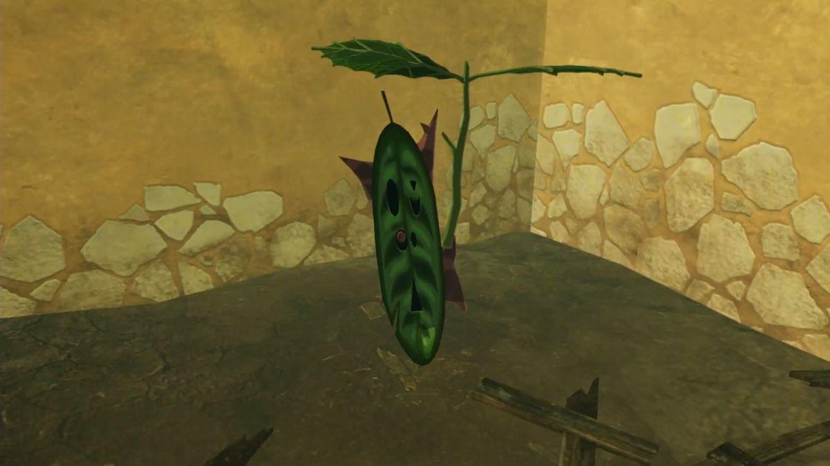 A Korok from Zelda stands in a corner holding a leaf umbrella