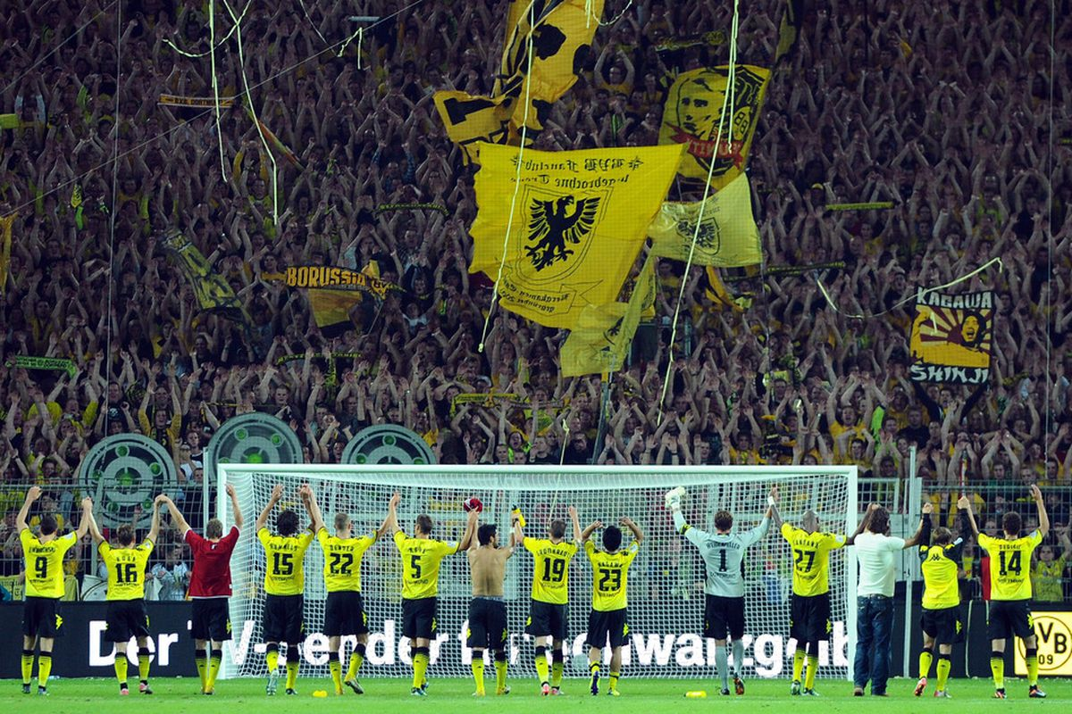 Dortmund's Südtribüne in action, 25,000 people safely stood in one stand.