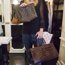 """""""The bigger the bag, the more crap I put in it, so what I really use the most is this little Louis Vuitton. I also love this Rhonda Ochs bag, which we sell in my stores."""""""
