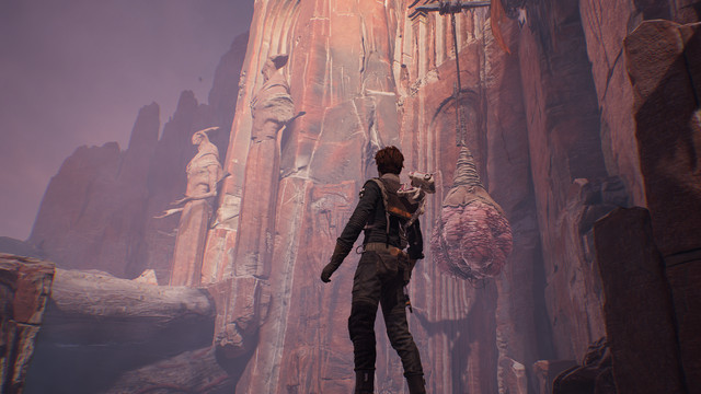 Cal Kestis looks up at Zeffo statues on the planet Dathomir in Star Wars Jedi: Fallen Ordere