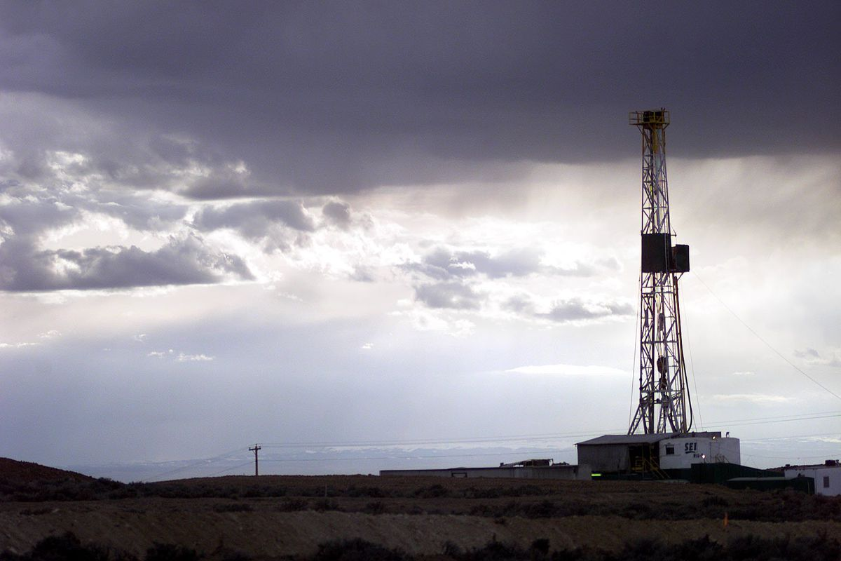 An oil rig is pictured in the Uinta Basin in the Red Wash area near Vernal.