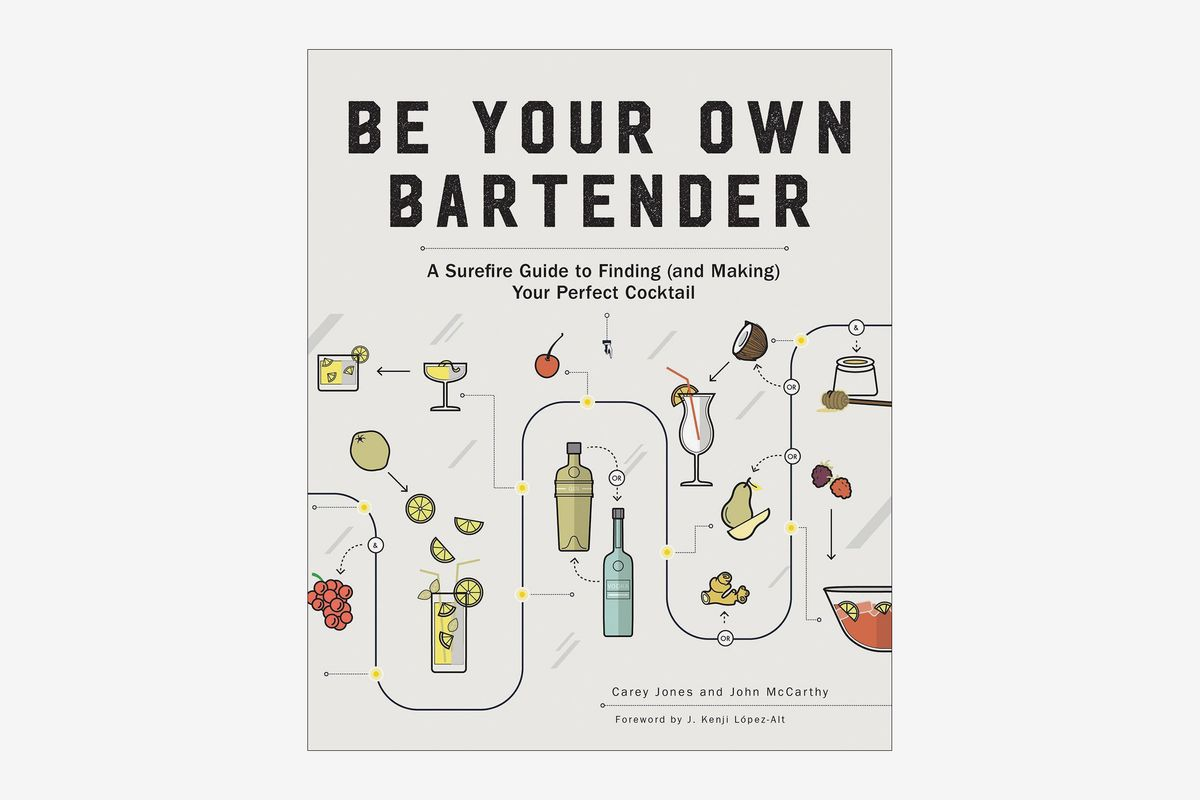 "The cover of ""Be Your Own Bartender"" with a graphic of the steps to make a cocktail"