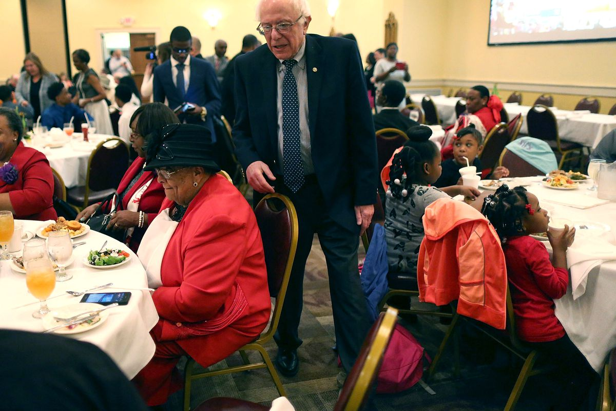Democratic presidential candidate Sen. Bernie Sanders (D-VT) greets people at the Brookland Baptist Church on February 21, 2016, in West Columbia, South Carolina.