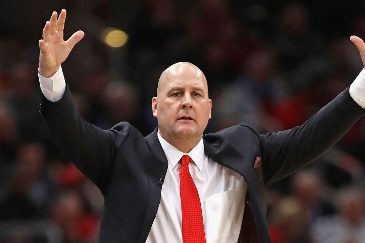 Bulls coach Jim Boylen gestures to his team during the second half of Monday's 93-92 loss to the Raptors at the United Center.