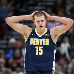 Denver Nuggets center Nikola Jokic (15) reacts after failing to score on a possession during the game against the Utah Jazz at Vivint Smart Home Arena in Salt Lake City on Tuesday, Nov. 28, 2017.